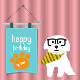 The hipster dog with happy birthday word Stock Photography