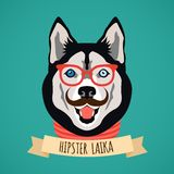 Hipster dog portrait. Hipster laika dog with glasses and moustaches  portrait with ribbon poster vector illustration Royalty Free Stock Image