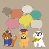 The Hipster dogs with bubble talk background. The Three Hipster dogs with bubble talk background royalty free illustration