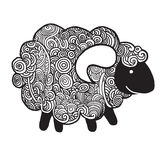 Hipster Doodle Funny sheep Stock Photography