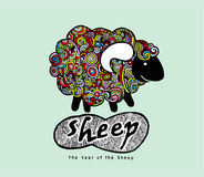 Hipster Doodle Funny sheep Stock Image