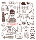 Hipster doodle set, hand drawn illustration Royalty Free Stock Photos