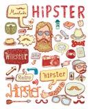 Hipster doodle set, hand drawn illustration Stock Photo