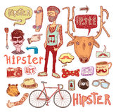 Hipster doodle set, hand drawn illustration Royalty Free Stock Image