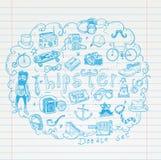 Hipster doodle set, hand drawn illustration Stock Images