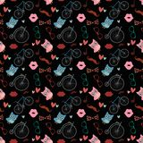 Hipster Doodles Colorful Seamless Pattern Stock Photos
