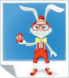 Hipster Easter Bunny Cartoon Stock Image