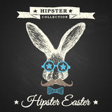 Hipster Easter poster with bunny.