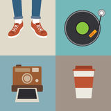 Hipster element flat design Stock Photography