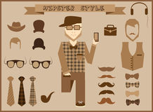 Hipster elements and icons collection with vintage and retro style character Royalty Free Stock Images
