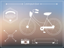 Hipster elements with old retro bicycle Royalty Free Stock Photography