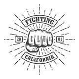 Hipster emblem about fighting club. Monochrome graphic style Stock Photography
