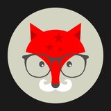 Hipster emblem with fox in glasses. Stock Photography