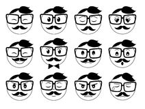 Hipster Emoticons Set Stock Images