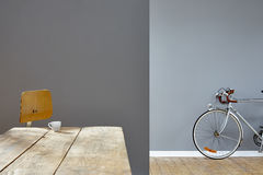 Hipster espresso in loft silver bike in background. 