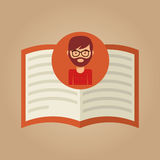 Hipster för läs- man för boklitteratur Royaltyfria Foton