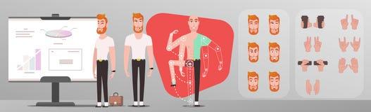 Hipster för ung man som gör presentation vektor illustrationer