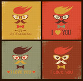 Hipster face retro card  Happy Valentines day Stock Image