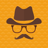 Hipster face silhouette in flat style Stock Images