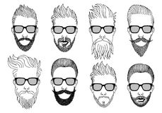 Hipster faces with beard, vector set Royalty Free Stock Photos
