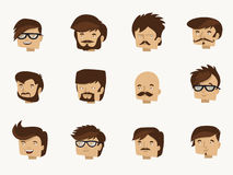 12 hipster faces - flat character design collection Royalty Free Stock Photography