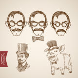 Hipster faces mustache pig engraving lineart vector vintage Royalty Free Stock Photography