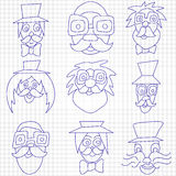 Hipster faces with mustaches and sunglasses, vintage hipster gentlemen, different comic faces Royalty Free Stock Images
