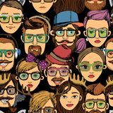 Hipster faces seamless background print royalty free illustration