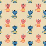 Hipster Fashion Cats Seamless Background royalty free illustration