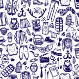 Hipster fashion clothing doodle seamless pattern Royalty Free Stock Photography