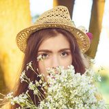 Hipster fashion girl in straw hat keep beauty Stock Image