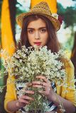 Hipster fashion girl in straw hat keep beauty Royalty Free Stock Photo