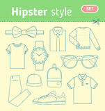 Hipster fashion look. Set of mens clothing. Stock Photos