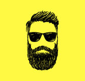 Hipster fashion man hair and beards, Hand drawn vector illustration Stock Photo