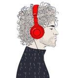 Hipster Fashion men. Hipster fashion Barber men with headphones. Vector illustration Stock Image