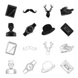Hipster, fashion, style, subculture .Hipster style set collection icons in black,outline style vector symbol stock. Illustration Royalty Free Stock Image