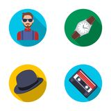 Hipster, fashion, style, subculture .Hipster style set collection icons in flat style vector symbol stock illustration Stock Photo