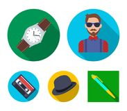 Hipster, fashion, style, subculture .Hipster style set collection icons in flat style vector symbol stock illustration.  Royalty Free Stock Image