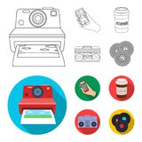 Hipster, fashion, style, subculture .Hipster style set collection icons in outline,flat style vector symbol stock. Illustration Royalty Free Stock Photography