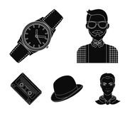Hipster, fashion, style, subculture .Hipster style set collection icons in black style vector symbol stock illustration.  Royalty Free Stock Photography