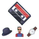 Hipster, fashion, style, subculture .Hipster style set collection icons in cartoon style vector symbol stock Stock Images