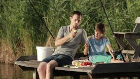 Hipster father and son enjoying picnic by the pond stock video footage