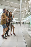 Hipster Females In Shopping Mall. Three Hipster Females In Shopping Mall Stock Photography