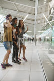 Hipster Females In Shopping Mall. Three Hipster Females In Shopping Mall Stock Image