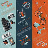 Hipster flat banners set Royalty Free Stock Image