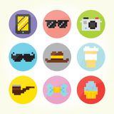 Hipster flat buttons set Royalty Free Stock Photography