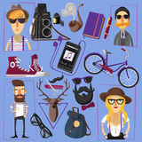 Hipster flat icons composition poster Stock Photo