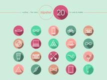 Hipster flat icons set Stock Images