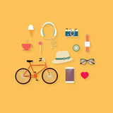 Hipster Flat Vector Icon Set Stock Images