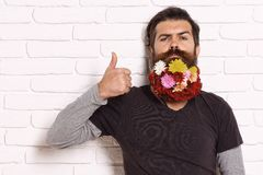Hipster with flowers in beard stock photo